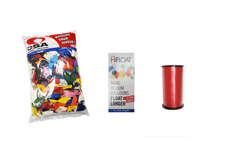 custom printed balloons kit with ribbons and hi float