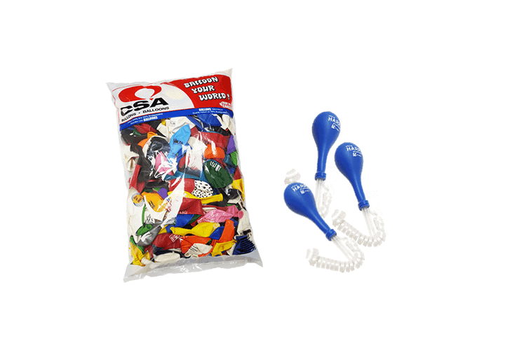 printed logo balloons kit with ribbons